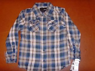 NEW Hurley Toddler Boys Plaid Flannel Jacket Button Front Shirt Blue
