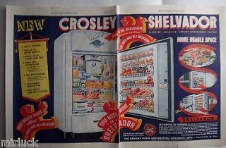 1938 Antique Crosley Shelvador Kitchen Refrigerator Two Page Color Ad