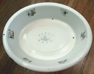 Antique Enamel BABY or DOLL NURSERY RHYME BATH WASH TUB Display