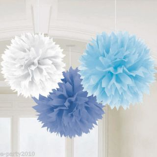 Blue & White POM DECORATIONS ~ BOYS BABY SHOWER Bridal Party Supplies