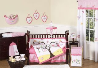 GARDEN BIRD TREE 9 pc PINK BABY GIRL BEDDING CRIB SET COLLECTION