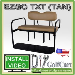 TXT Golf Cart Rear Stationary Seat Kit   4 Passenger Back Seat (TAN
