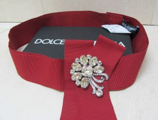 NWT DOLCE & GABBANA RHINESTONE CRYSTAL SASH RIBBON SNAP BELT Ladies