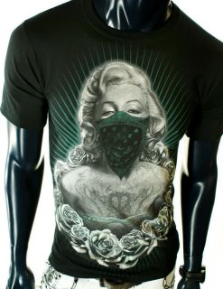 NEW MENS marilyn monroe STREET BANDANA ROSES UFC MMA BLACK GREEN T