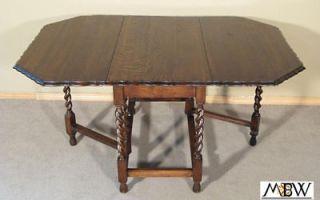 Antique 5Ft Oak Barley Twist Piecrust Gateleg Table