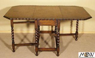 Antique English 5Ft Oak Barley Twist Gateleg Table