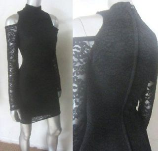 BARING SHOULDERS BLACK LACE BANDAGE VINTAGE BODY CON DRESS SZ XS