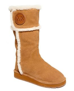 2012 MICHAEL KORS WINTER SHEARLING LOGO TALL COLD WEATHER FLAT BOOTS