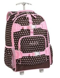 Pottery Barn Kids Mackenzie Rolling BackPack Book Bag Polka Dot Brown