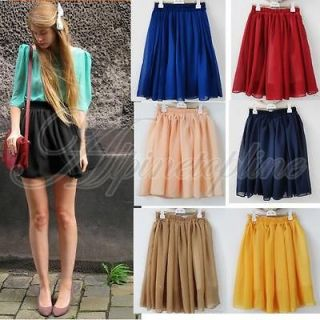 Elegant Women Empire Waist Chiffon Pleated Summer Skirt Lovely Mini