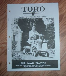 TORO OWNERS MANUAL PARTS CATALOG 5 HP LAWN TRACTOR