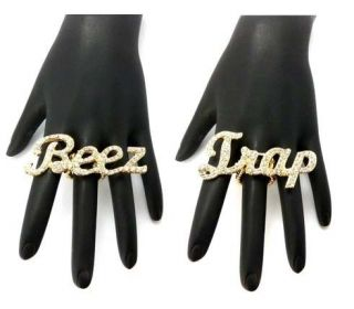 NEW ICED OUT NICKI MINAJ STYLE BEEZ IN THE TRAP HIP HOP STRETCH BAND