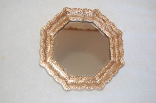 Regency Gold Ornate Syroco 8 Sided Sm. Decorative Accent Wall Mirror