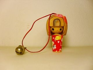 JAPANESE WOODEN DOLL WITH BELL, AS ORNAMENT OR 4 YOUR CAR