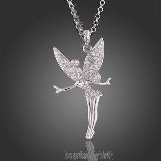 18K white gold Gp Swarovski Crystal Angel TINKERBELL necklace N114
