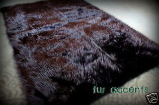 FAUX FUR RUG BLACK BEAR 5 RUNNER FAKE SHEEPSKIN CABIN ACCENT RUG