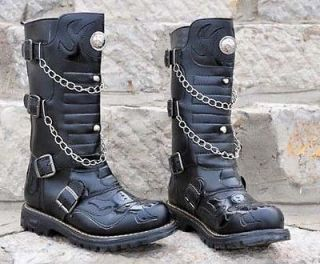 Punk Rock MENS BLACK GOTH PUNK ROCK BAND BUCKLE BOOTS #15203