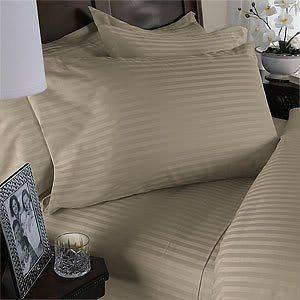 SALE USA 400TC COMPLETE BEDDING SET BEIGE STRIPE 100%COTTON CHOOSE