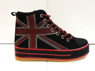 WOMENS PLATEFORM LADIES FLAT LACE UP UNION JACK TRAINER HIGH TOP