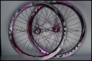 Deep V Fixie Single Speed Bike Wheelset Wheels Rim Rims Purple 614118