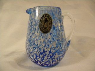 Pilgrim Art Glass Blue White Dotted Speckled Relish Pattern Creamer