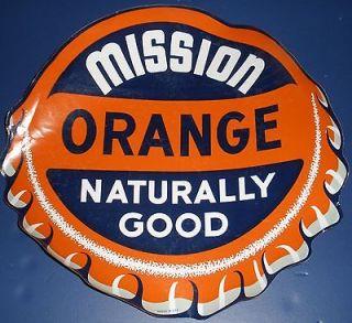 RARE LARGE MISSION ORANGE BOTTLE CAP SODA DRINK LITHO WINDOW DECAL