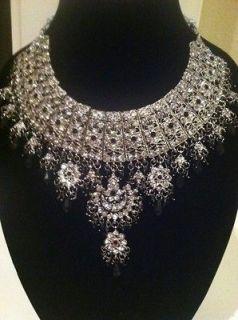Silver Black Bridal Party Indian Pakistani Necklace earrings Matika