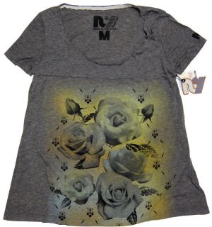 Womens Airbrush Roses T Shirt Top in Heather Gray   Sizes XS~S~M