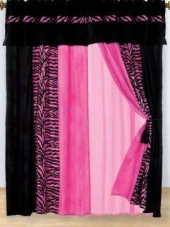 Hot Pink Zebra print striped micro fur curtain set bold durable