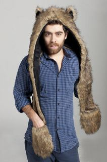 Grizzly Bear Full Animal Hood Hoodie Hat Faux Fur 3 in 1 Function for