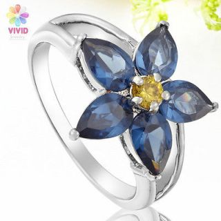 Ladies Gift Flower Blue Sapphire White Gold Plated Xmas Jewelry Ring 7
