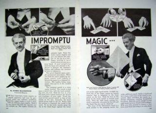 1935 MAGICIAN HARRY BLACKSTONE IMPROMPTU MAGIC Original ARTICLE