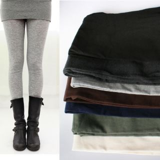 Fall Winter Fleece Lined Thick Warm Basic Cotton Leggings Footless