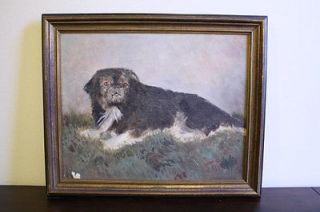 Dog Painting Antique Vintage Oil Painting of Pekingese on Grass SIGNED