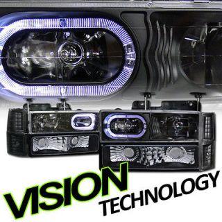 8pc Black Halo Headlights+Signal Lights 94 02 Chevy C10 Truck/SUV