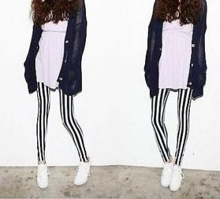 Women Zebra Vertical Black and White striped Printed Tights Pants