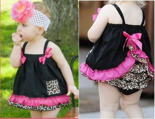 New Girl Baby Ruffle Top+Pants+Headband Set S0 3Y Bloomers Nappy Cover