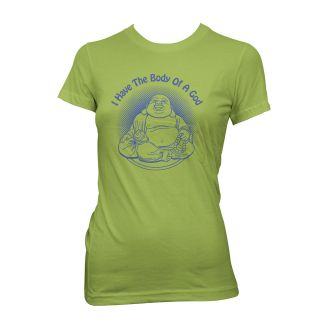 HAVE THE BODY OF A GOD T shirt funny fat laughing buddha S XXL WOMEN