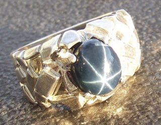 DAZZLING MENS BLUE STAR SAPPHIRE NUGGET RING NATURAL GENUINE SIZE 9