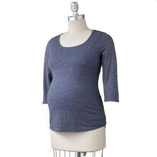 NWT Oh Baby Motherhood Maternity Blue Ruched T Blouse top Longsleeved