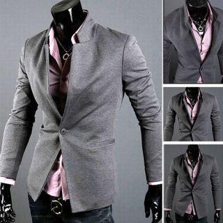Korean Fashion Mens Casual Slim Fit Suit Sport Coat Blazer Jacket IN