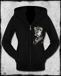 SULLEN ANGELS ENVY WOMENS BLACK GOTH GEISHA TATTOO ZIP HOODIE FLEECE