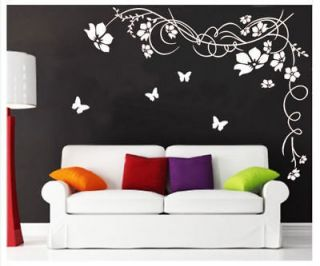 Large Butterfly Vine Flower Mural Art Wall Stickers Vinyl Decal Home