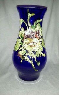 Blown Art Glass Cobalt Blue Coralene Vase Antique Panseys Flared