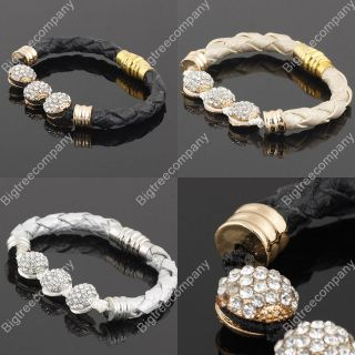 Swarovski Crystal Disco Ball Beads Durable Genuine Leather Friendship