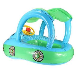 Sunshade Baby Float Seat Boat Inflatable Swim Ring Pool Water Fun Blue