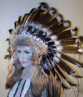 Native War Bonnet Headdress, American Reproduction