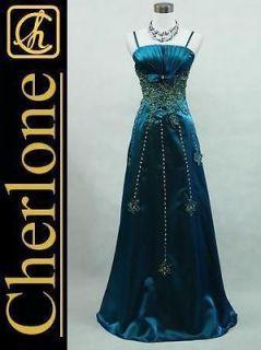 Cherlone Satin Dark Blue Long Ball Gown Wedding/Evening Bridesmaid