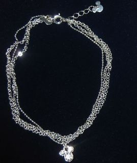A32 Official Disney Mickey Mouse Clear Crystal Anklet Multi Chain 7