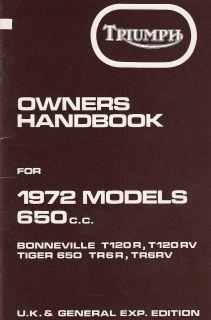1972 Triumph Bonneville,Tiger T120, T120R, TR6,TR6R OIF, OEM, UK